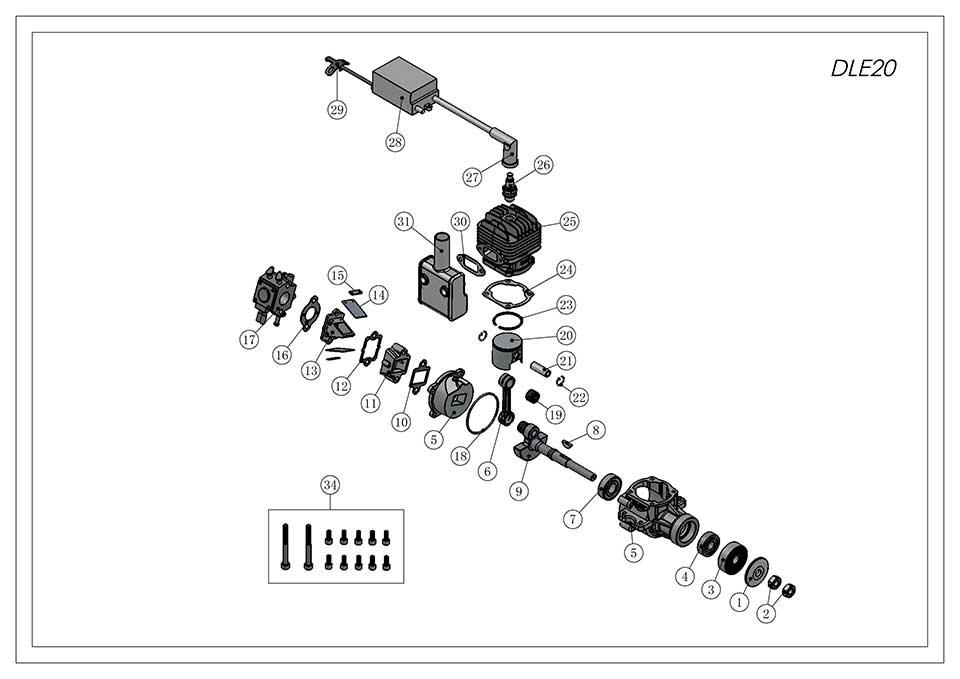 DLE20航模发动机爆炸视图