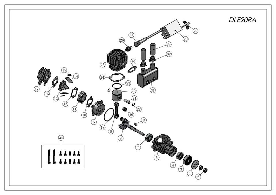 DLE20RA航模发动机爆炸视图