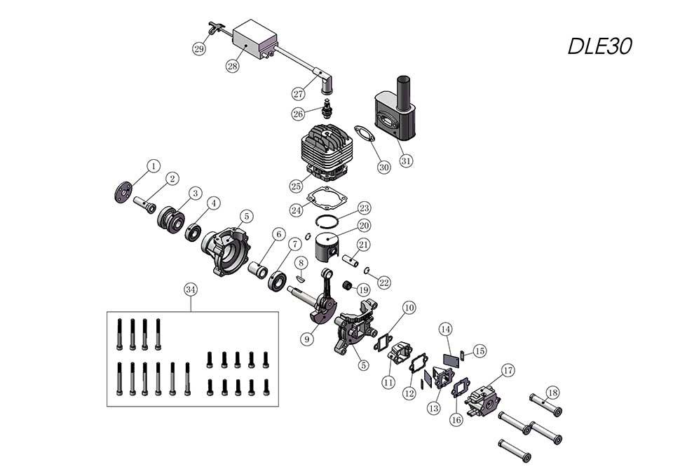 DLE30航模发动机爆炸视图