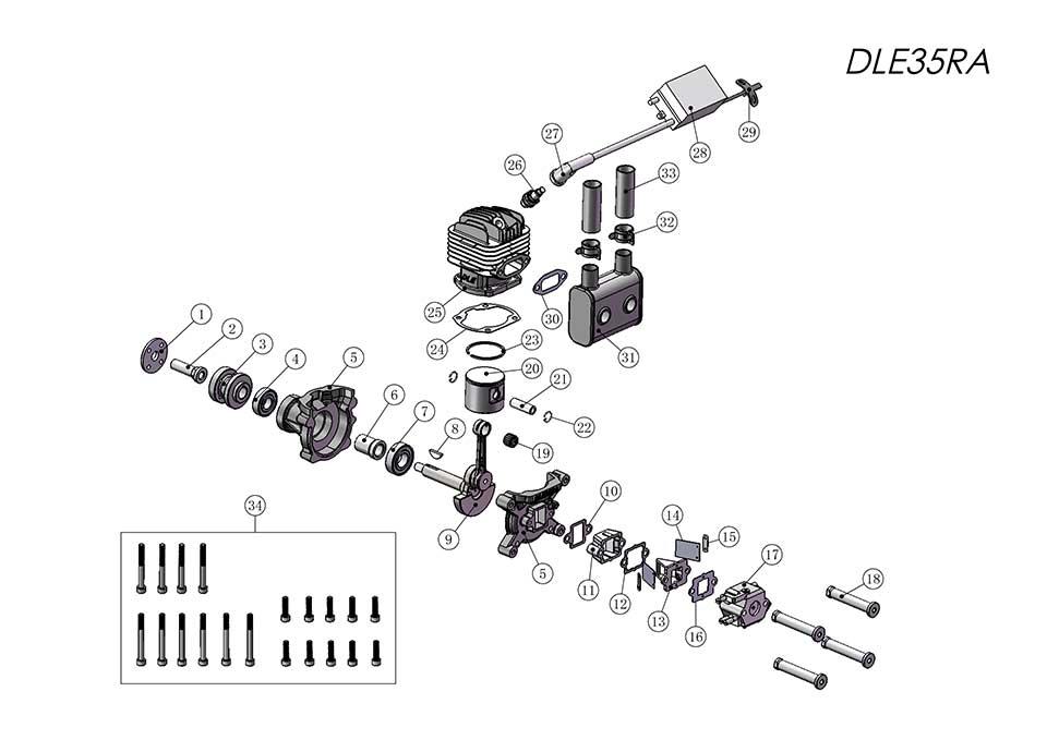 DLE35TA航模发动机爆炸视图