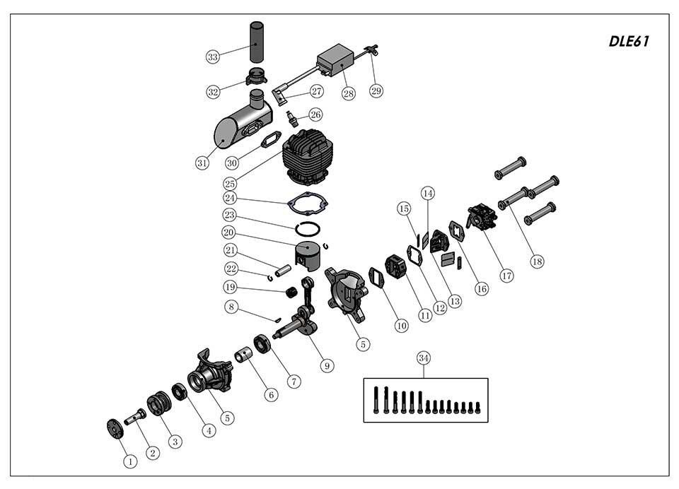 DLE61航模发动机爆炸视图