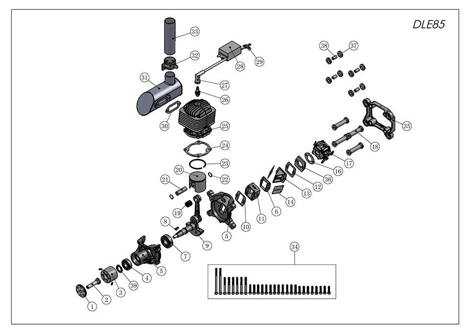 DLE85航模发动机爆炸视图